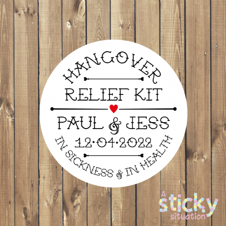 Personalised 'Hangover Kit' Wedding Favour Stickers - Vintage Apothecary Design